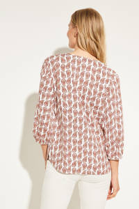 comma blouse met all over print beige, Beige