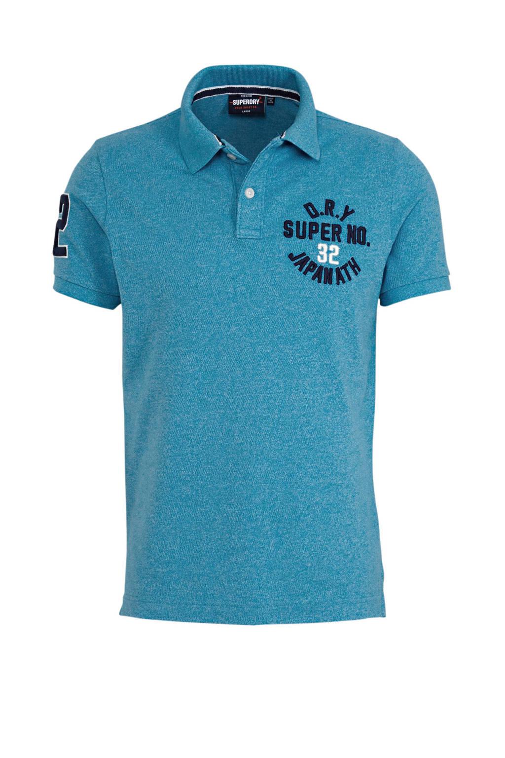 Superdry slim fit polo met logo roze, Blauw