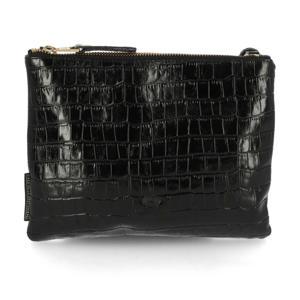 leren crossbody tas met crocoprint zwart