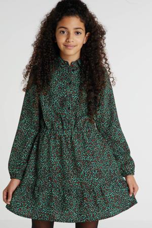 blousejurk met panterprint groen/bruin