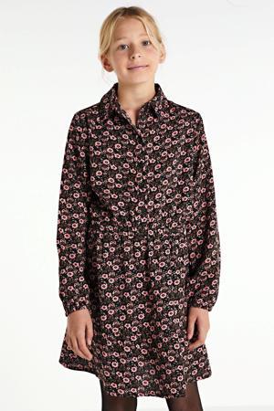 gebloemde blousejurk roze/bruin