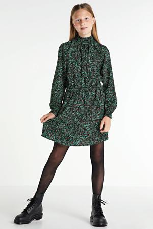 jurk met panterprint groen/bruin
