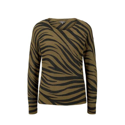 Tom Tailor trui met zebraprint groen/zwart