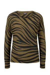 Tom Tailor trui met zebraprint groen/zwart, Groen/zwart