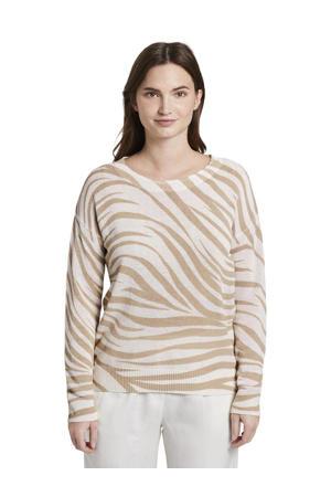 fijngebreide trui met zebraprint ecru/beige