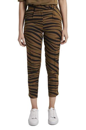 cropped straight fit broek met zebraprint groen/zwart