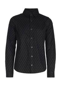 Jill & Mitch by Shoeby overhemd Axel met all over print zwart, Zwart
