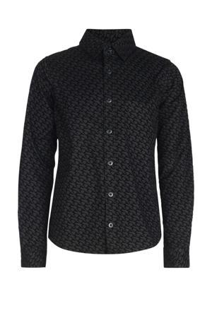 overhemd Axel met all over print zwart