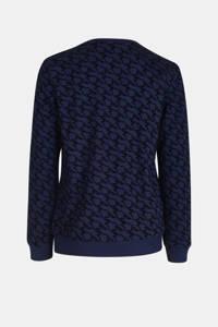 Jill & Mitch by Shoeby sweater Arno met all over print blauw/zwart, Blauw/zwart