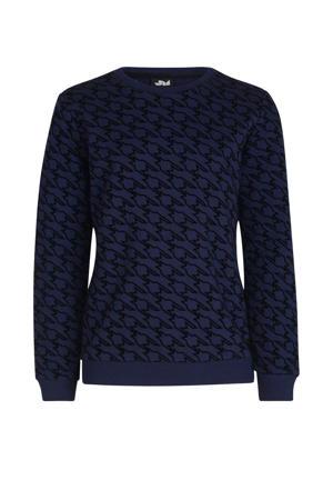 sweater Arno met all over print blauw/zwart