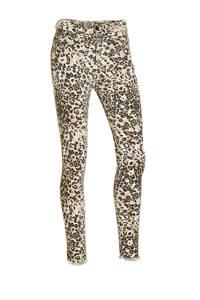 10DAYS high waist skinny jeans met all over print wit/beige/zwart, Wit/beige/zwart