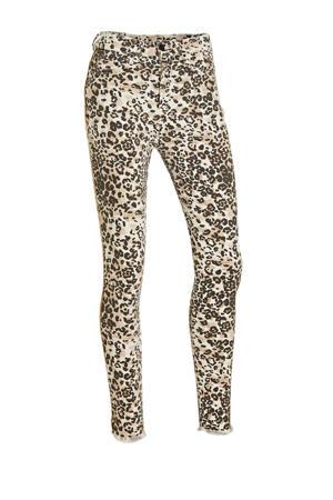 high waist skinny jeans met all over print wit/beige/zwart