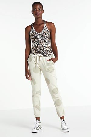 top met all over print wit/beige/zwart