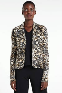 10DAYS blazer met linnen en all over print wit/beige/zwart, Wit/beige/zwart