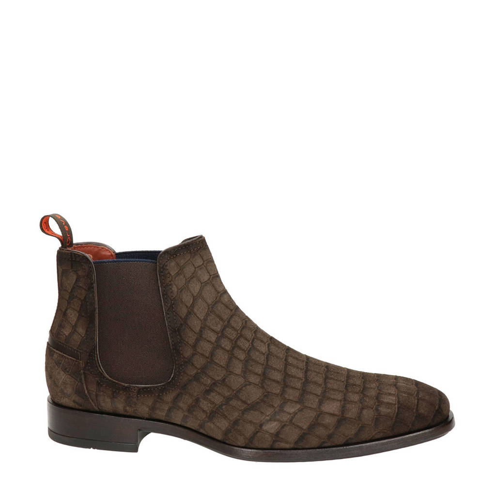 Greve Ribolla  suède chelsea boots crocoprint bruin, Bruin