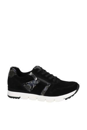 suède sneakers zwart/slangenprint