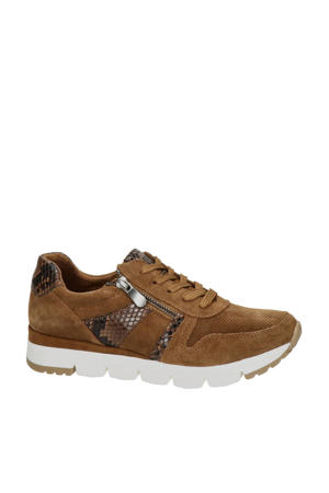 suède sneakers cognac/slangenprint