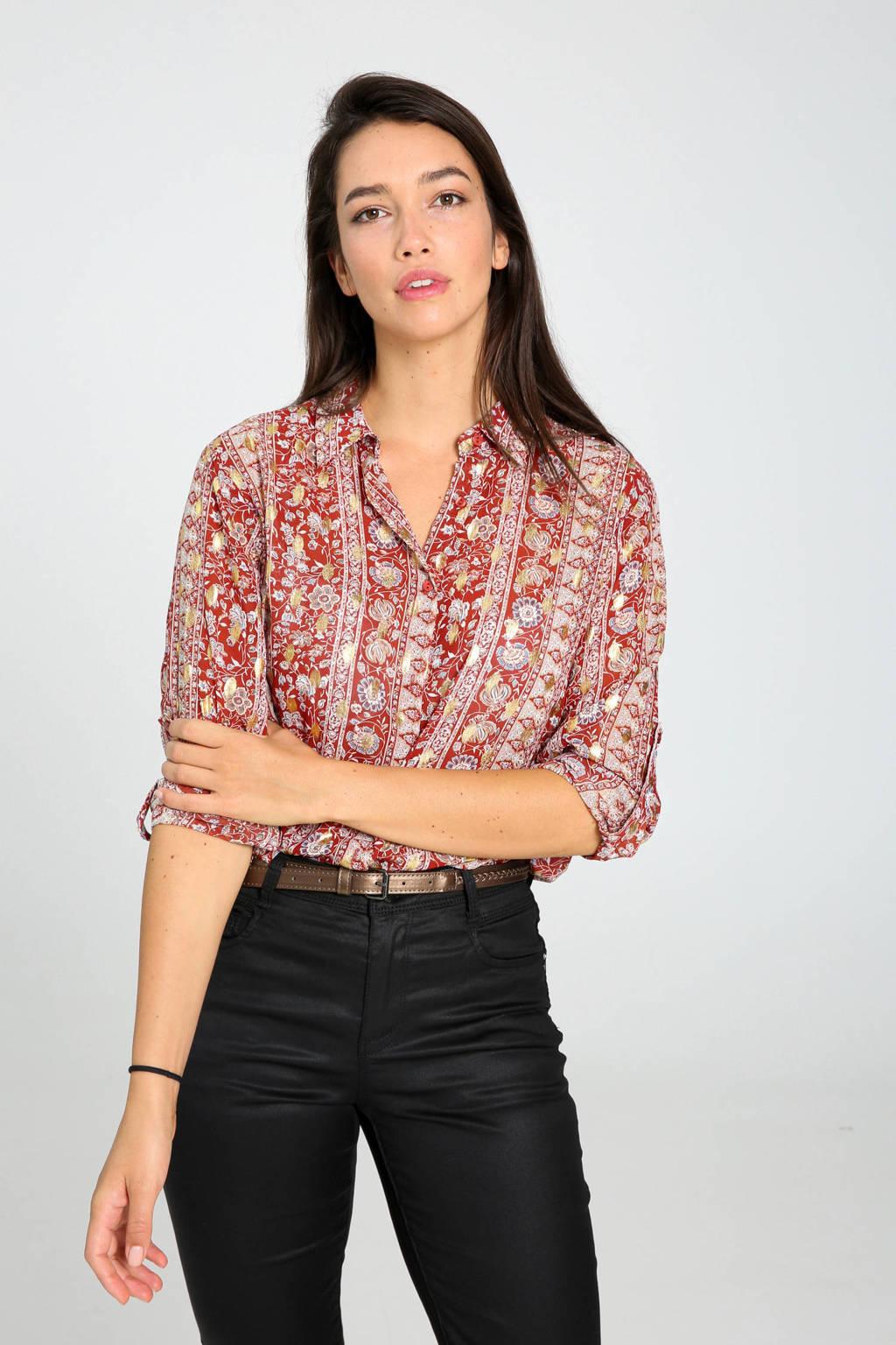 Cassis blouse met all over print brique/wit/goud, Brique/wit/goud