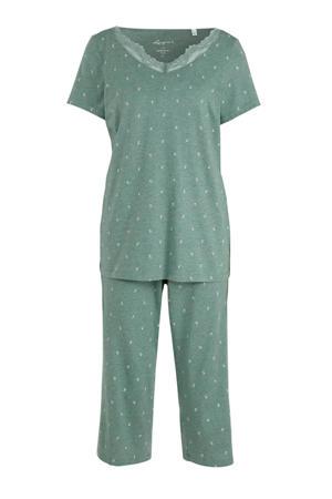 pyjama met all over print groen