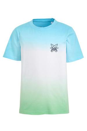T-shirt van biologisch katoen lichtblauw/wit/lichtgroen