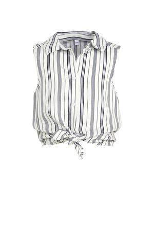 gestreepte blouse ecru/donkerblauw