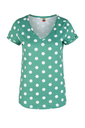 T-shirt met stippen mintgroen/wit