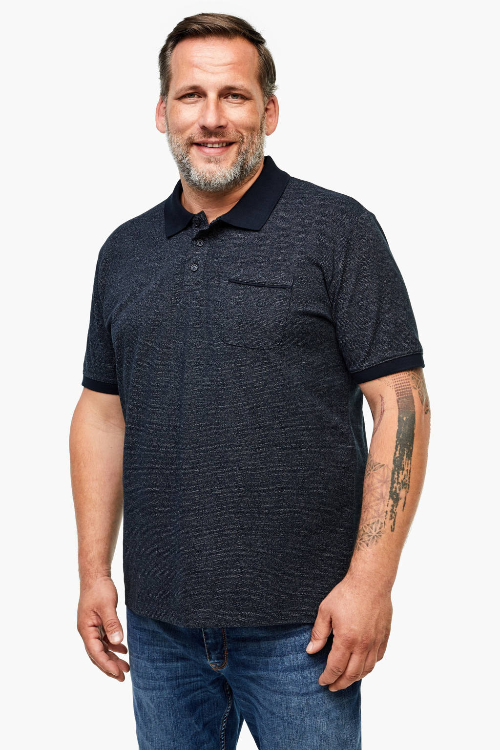 s.Oliver gemêleerde regular fit polo donkerblauw, Donkerblauw