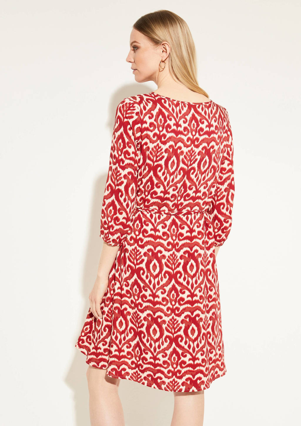 comma jurk met all over print en ceintuur rood/ecru, Rood/ecru