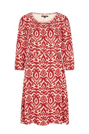 jurk met all over print en ceintuur rood/ecru