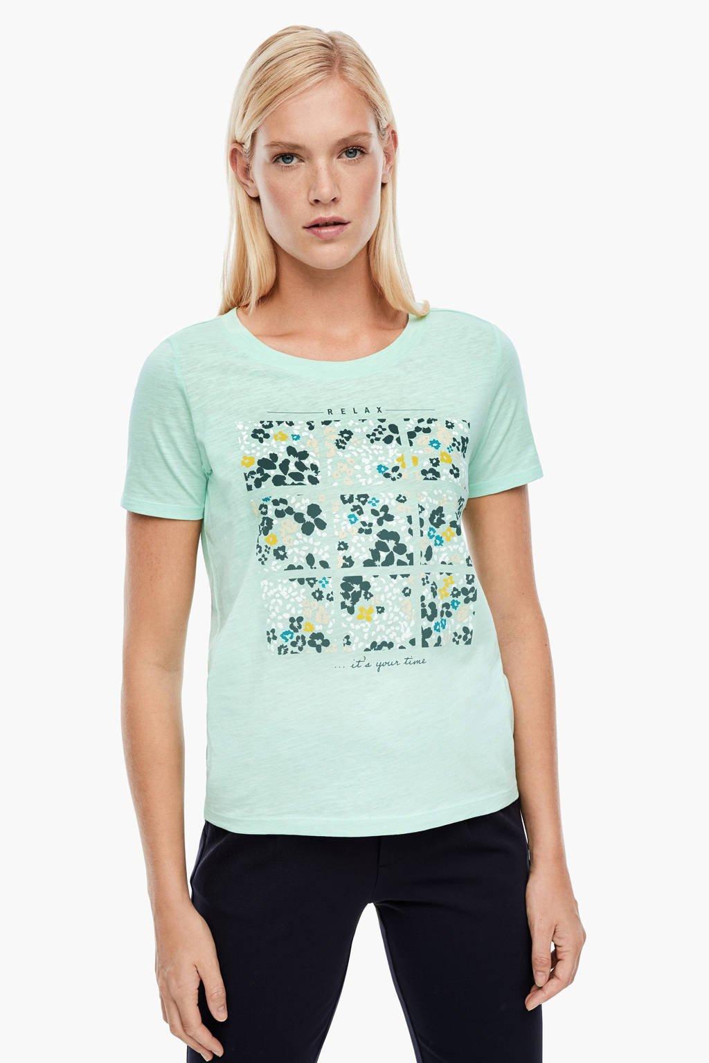 s.Oliver T-shirt met printopdruk mintgroen, Mintgroen