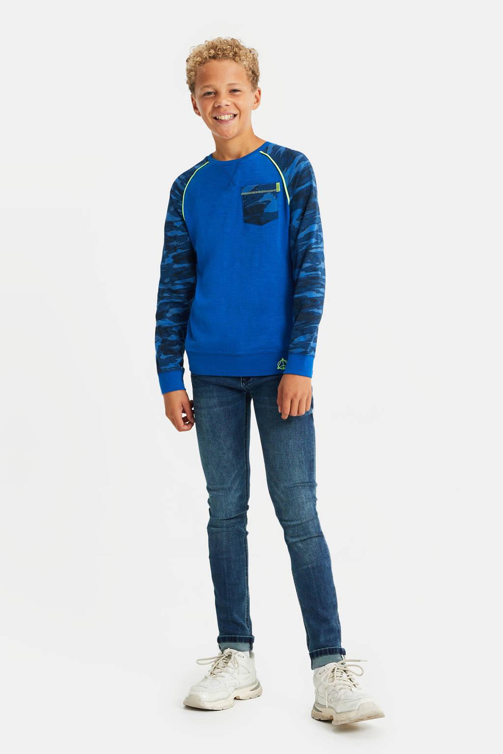 WE Fashion longsleeve met camouflageprint blauw, Blauw