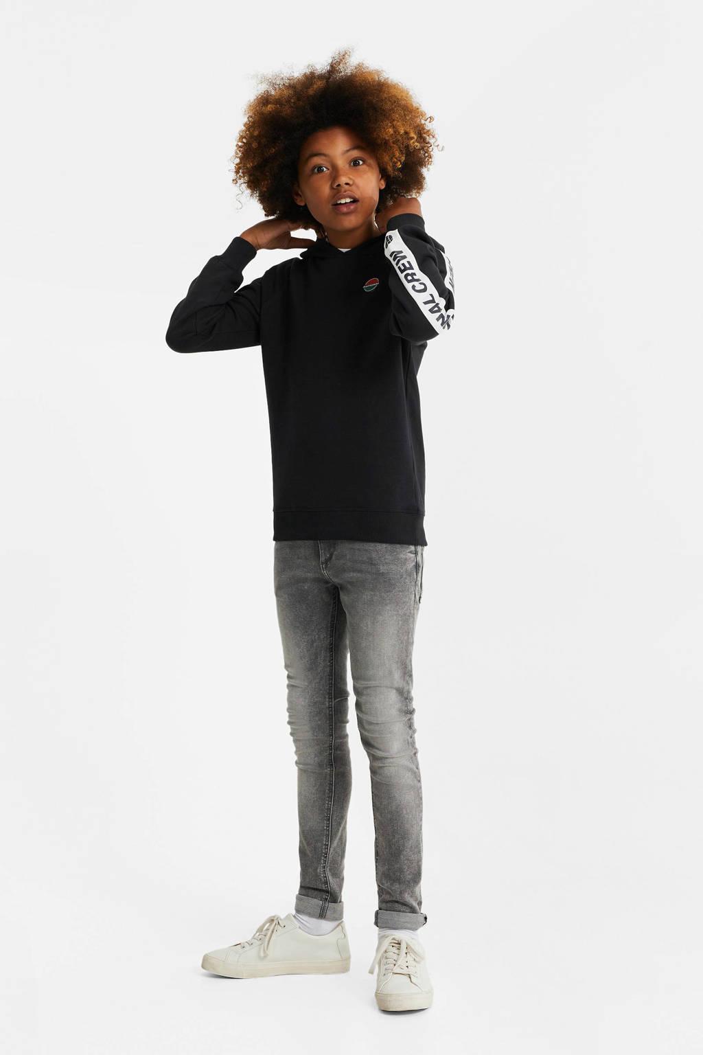 WE Fashion hoodie met contrastbies donkerblauw/wit/groen, Donkerblauw/wit/groen