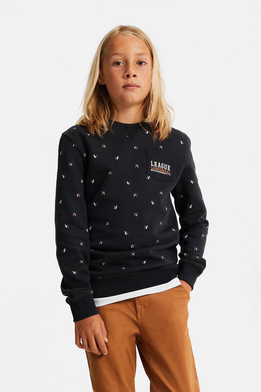 WE Fashion regular fit sweater met all over print donkerblauw, Donkerblauw