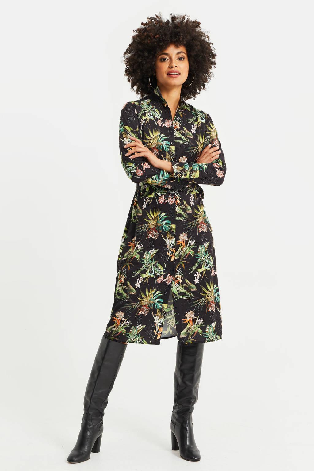 WE Fashion blousejurk met all over print black dessin, Black Dessin