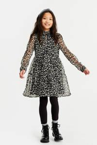 WE Fashion  regular fit jurk zwart/wit, Zwart/wit