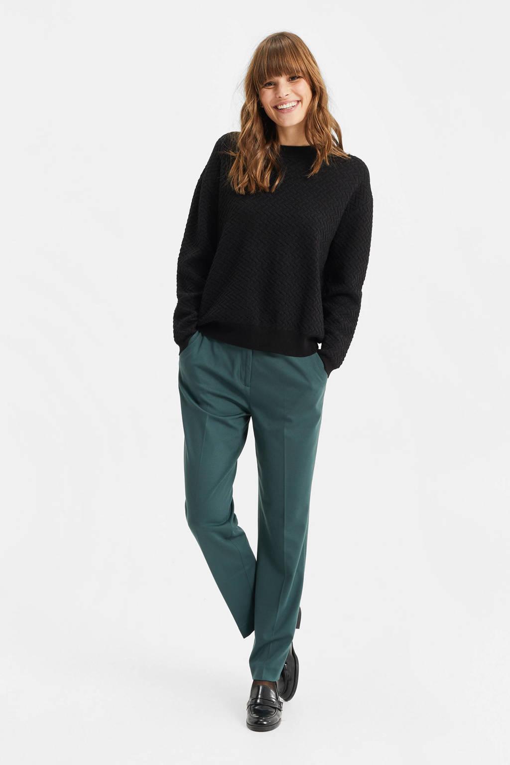WE Fashion grofgebreide trui zwart, Zwart