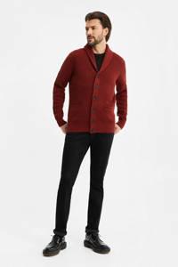 WE Fashion ribgebreid vest donkerrood, Donkerrood