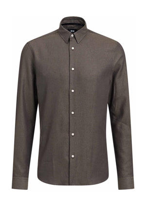 slim fit overhemd met glitters bruin