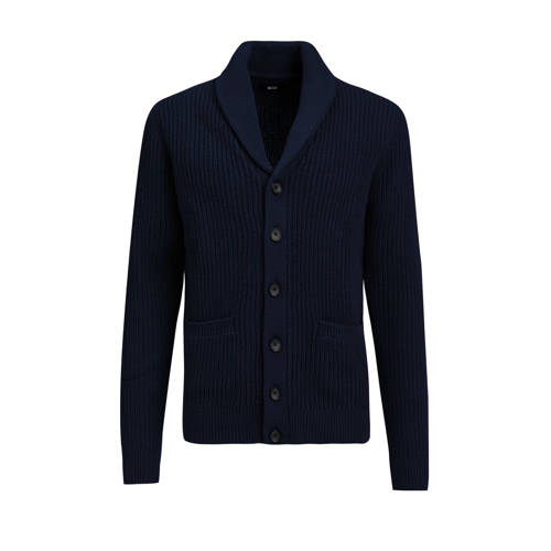 WE Fashion ribgebreid vest donkerblauw
