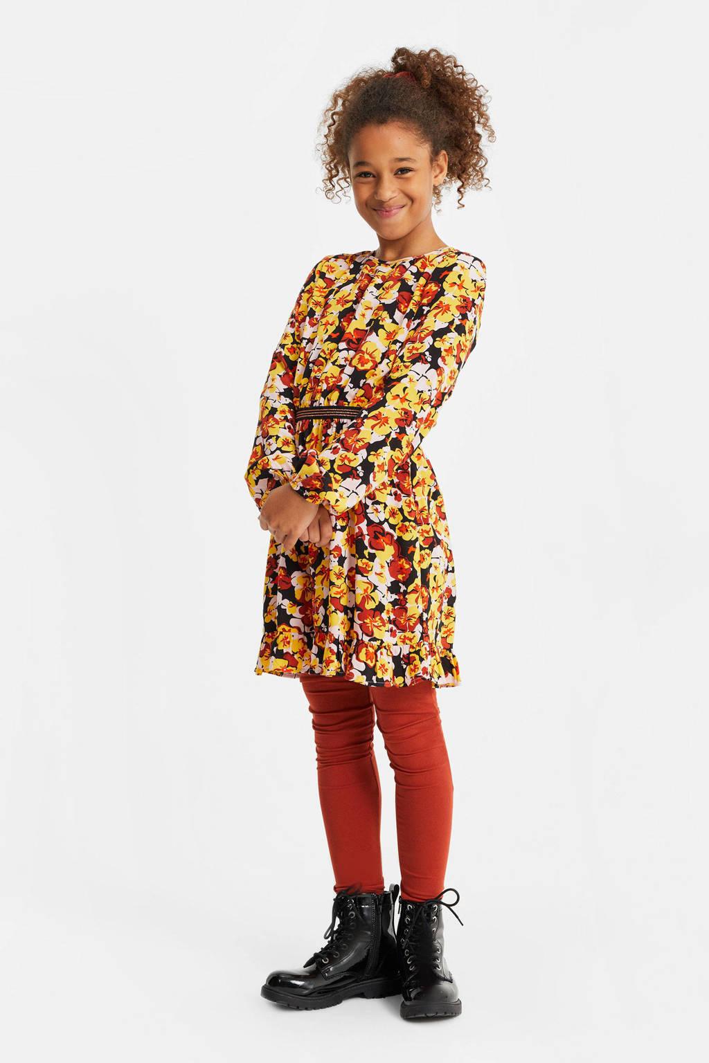 WE Fashion gebloemde jurk geel/oranje/zwart, Geel/oranje/zwart
