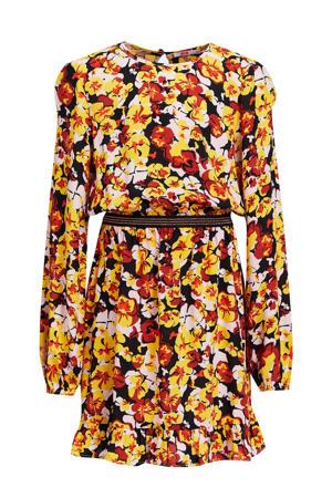 gebloemde jurk geel/oranje/zwart