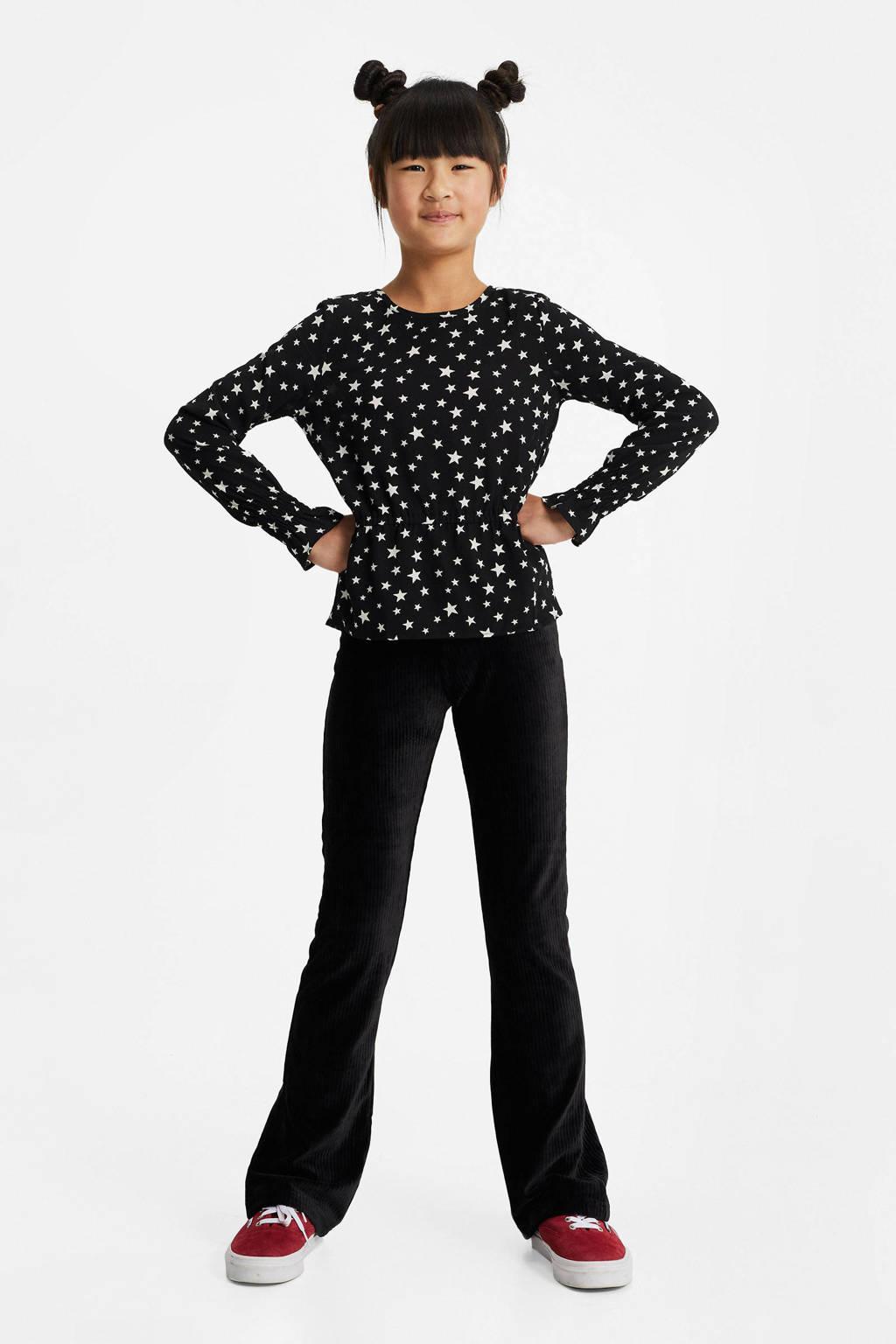 WE Fashion top met sterren zwart/wit, Zwart/wit