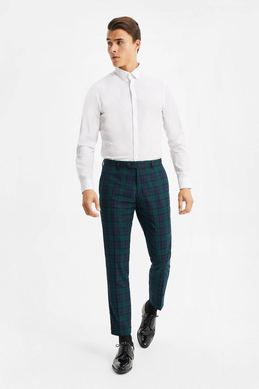 WE Fashion geruite slim fit pantalon groen, Groen