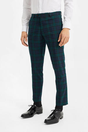 geruite slim fit pantalon groen