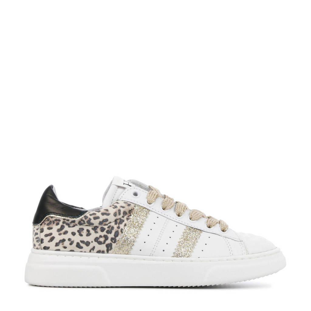 Hip H1261  leren sneakers wit/panterprint, Wit/goud
