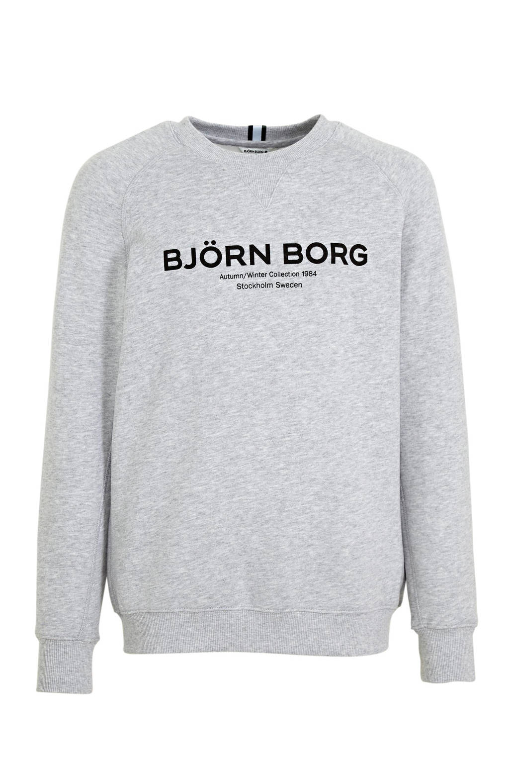 Björn Borg sweater met logo lichtgrijs melange, Lichtgrijs melange