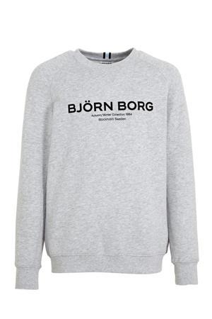 sweater met logo lichtgrijs melange