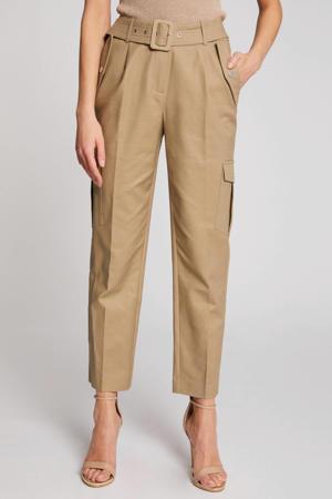 high waist straight fit cargo pantalon beige