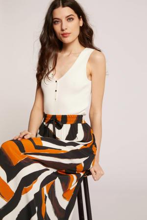 rok met all over print zwart/oranje/wit