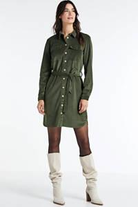 JACQUELINE DE YONG corduroy blousejurk Sofi met ceintuur groen, Groen